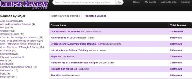 Course Review Screenshot